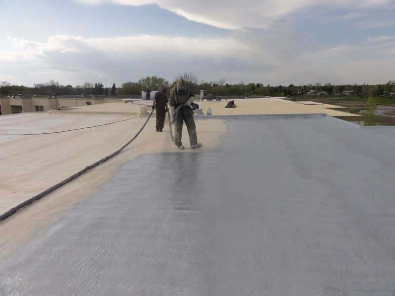 Aluminum Polyurea Top-Coat over SPF Roofing